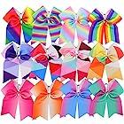 Myamy 7.5 in Large Rainbow Cheer Hair Bows Cheerleading Elastic Pony Tail For Teens Girls Kids 12pcs