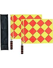 Banderines Odowalker de árbitro linier de fútbol con barra de metal y mango de espuma, con bolsa de transporte
