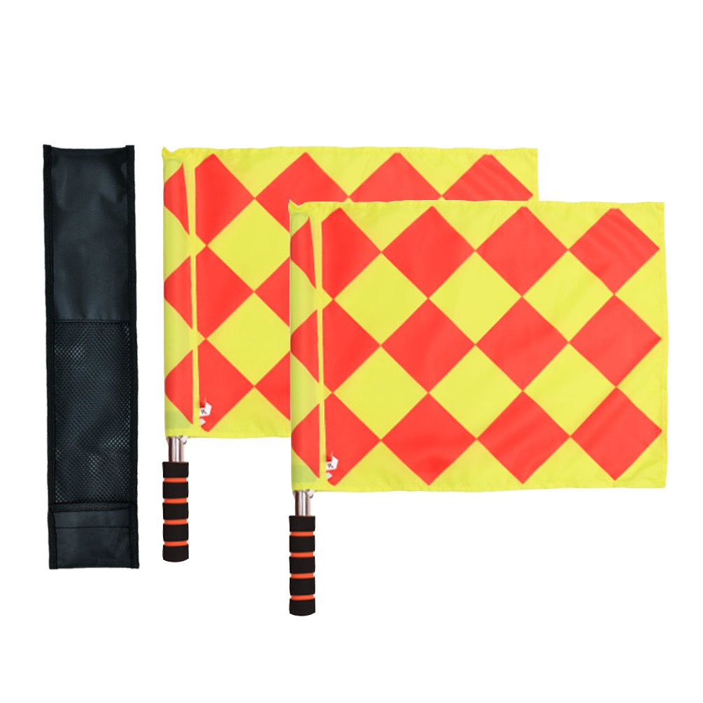 Odowalker Soccer Linesman Referee Flags Metal Pole Foam Handle with Carring Tote