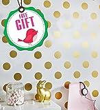 Polka Dot Wall Decals (207 DOTS) - Dot Decals - Polka Dot Decals - Polka Dot Vinyl - Circle Wall Decals - Gold Polka Dot Decal Kitchen Bedroom Nursery +FREE GIFT!