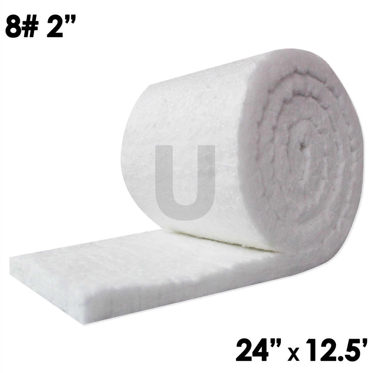 UniTherm Ceramic Fiber Insulation Blanket Roll, (8# Density, 2300°F)(2''x24''x12.5') for Kilns, Ovens, Furnaces, Forges, Stoves and More!