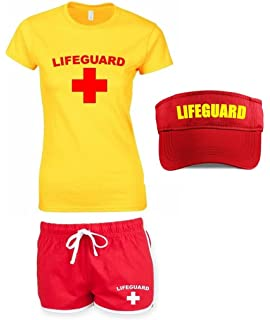 Mens Lifeguard Costume Casual Beach Fancy Male Outfit Adult Patrol Tshirt Shorts