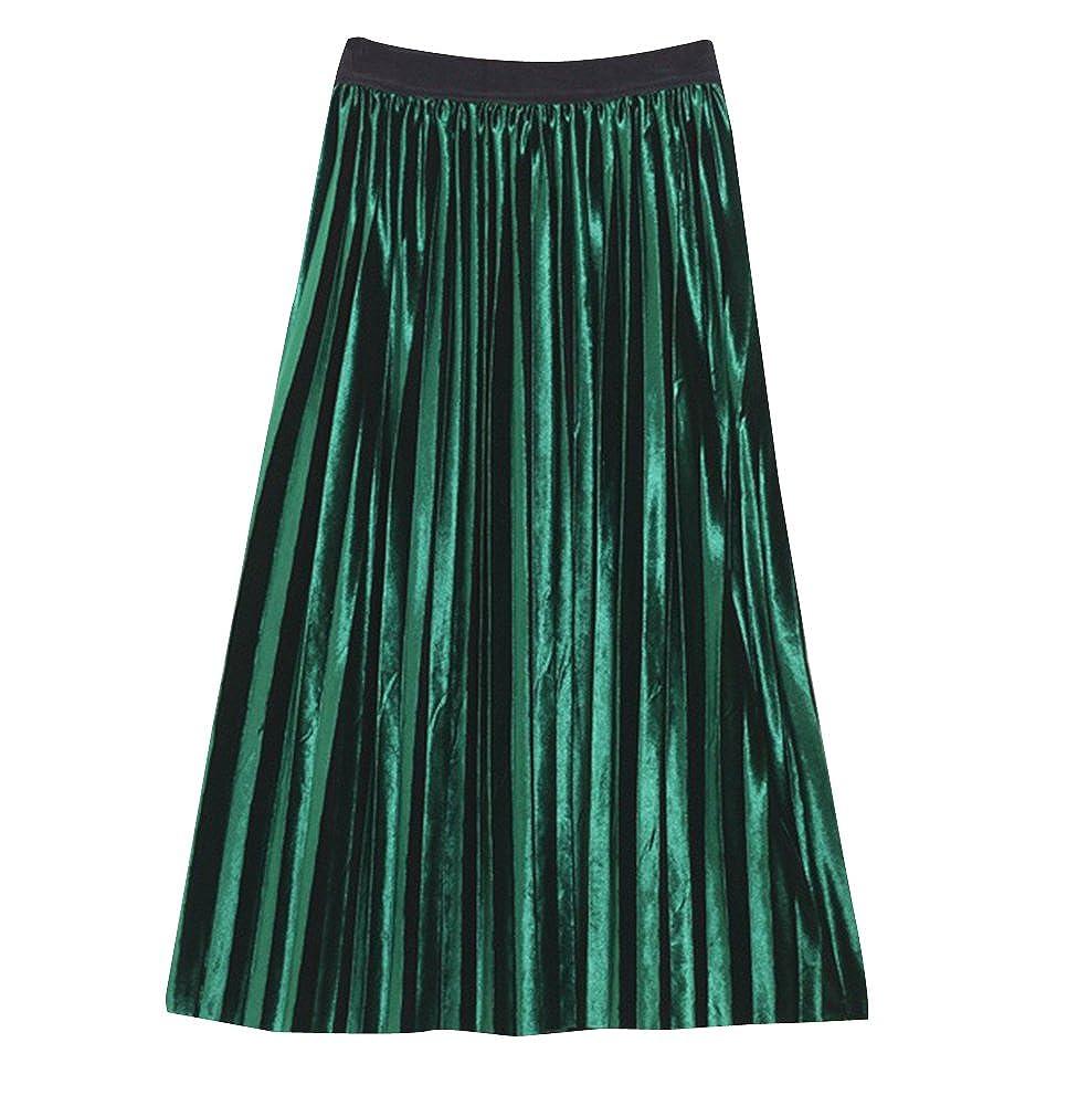 Röcke Damen Mit Falten Rock A-Linie Plisseerock Hohe Taille