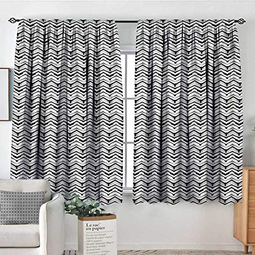- Abstract Window Curtain Drape Monochrome Chevron Pattern with Geometric Elements Roof Tile Three Dimensional Decorative Curtains for Living Room 55