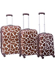 American Flyer Giraffe Brown 3 Piece Hardside Spinner Luggage Set