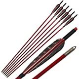"""6Pcs Gorgeous Painted 33.5"""" Wooden Arrows Eagle Feather Fletching Traditional Target Arrows for Recurve Bow or Longbow Hunting Target Practice, Red Brown"""