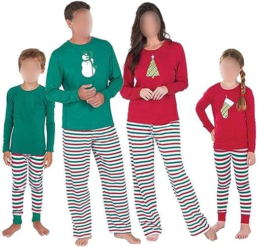 TALLA EU/US/UK/AUS/MEX XS=Tag S. Hzjundasi Familia de Coincidencia de Patrones de Navidad Pijamas Set - Hombres Mujer Chico Niña Niños Bebé Xmas PJs Sleepwear Ropa de Dormir Manga Larga Blusa y Raya Pantalones