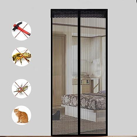 Moscas Rejilla para puerta cortina Magnetic Mosquitera 12 tamaño disponible compatible con puertas hasta 90 cm x 200 cm Max Negro: Amazon.es: Bricolaje y herramientas