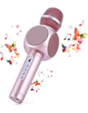 Wireless Bluetooth Karaoke Microphone,Fede 3-in-1 Portable Karaoke System with Two built-in speakers for Home KTV,Outdoor and Birthday Party.Work with iPhone Android,PC and All Smartphone (Pink)