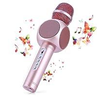 Microfono Karaoke Bluetooth Wireless Fede + Altoparlante Bluetooth con 2 Casse Incorporate, Karaoke Portatile per Cantare, Funzione Eco, Compatibile con Android/iOS, PC o smartphone (Rosa opaca)