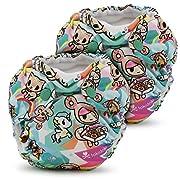 Kanga Care Lil Joey 2 Piece All In One Cloth Diaper, Tokisweet/Multi, Newborn