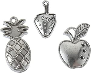 60pcs Mixed Style Antique Silver Apple Pineapple Strawberry Charms Fruit Charm Pendant Bracelets Necklace Jewelry Findings Jewelry Making Craft DIY (a-1217)