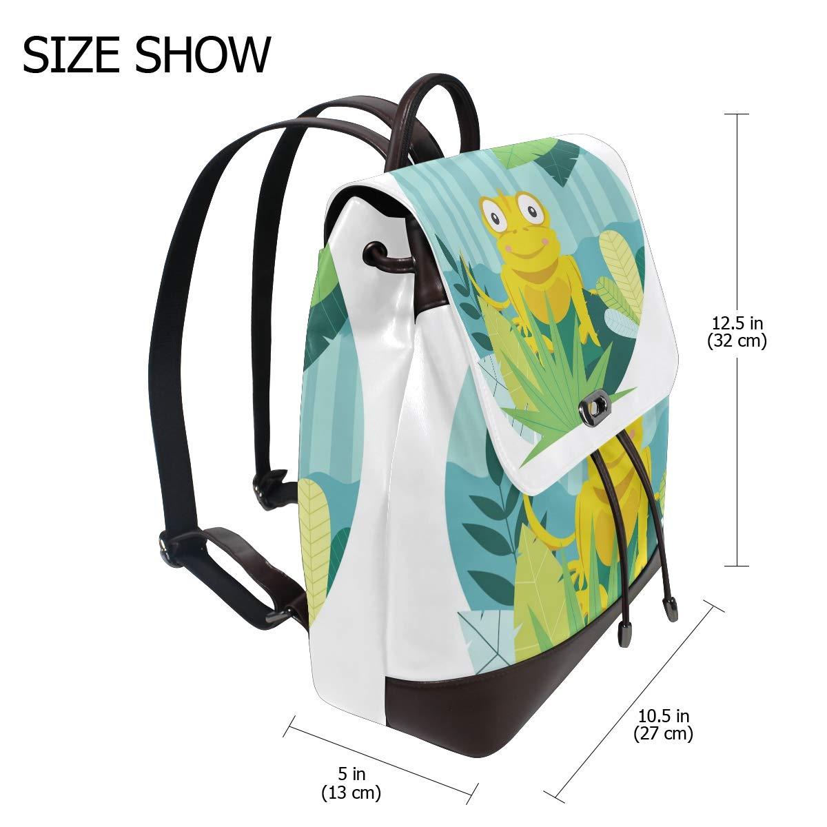 PU Leather Shoulder Bag,Cartoon Yellow Chameleon Backpack,Portable Travel School Rucksack,Satchel with Top Handle