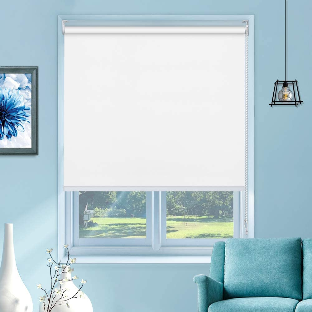 "MiLin Blackout Roller Shades Room Darkening Window Blinds and Shades, Custom Cut to Size, Waterproof Thermal Insulated for Home & Office - Polar White 34"" W x 72"" H"