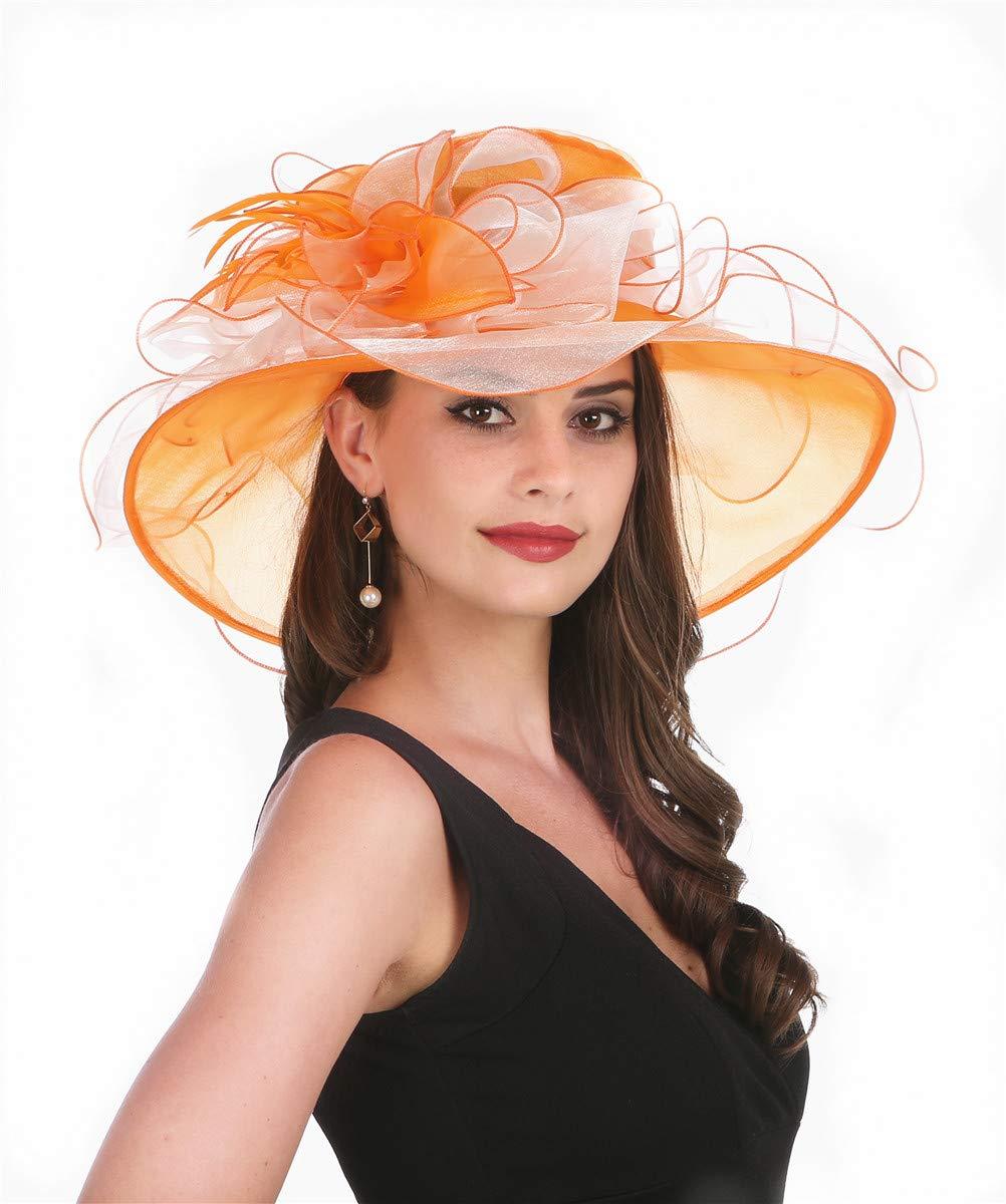 Saferin Women 's Kentucky Derby Sun Hat Church Cocktail Party Wedding Dress Organza Hat Wide Brim Orange and Beige Free size