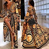 Leorealko Womens Boho V-Neck Printed Sundress Long Maxi Dress for Summer