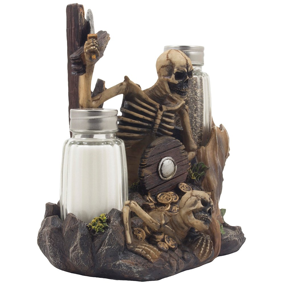 Skeleton Pirate Guarding Gold Treasure Salt and Pepper Shaker Set and Decorative Figurine Display Stand Holder for Halloween Decorations or Nautical Kitchen Table Decor As Gifts of Skulls & Skeletons by Home 'n Gifts (Image #3)