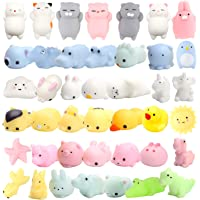 WATINC 40 Pcs Cute Animal Squishy, Kawaii Mini Soft Squeeze Toy,Fidget Hand Toy for Kids Gift,Stress Relief,Decoration, 40 Pack 。ュ