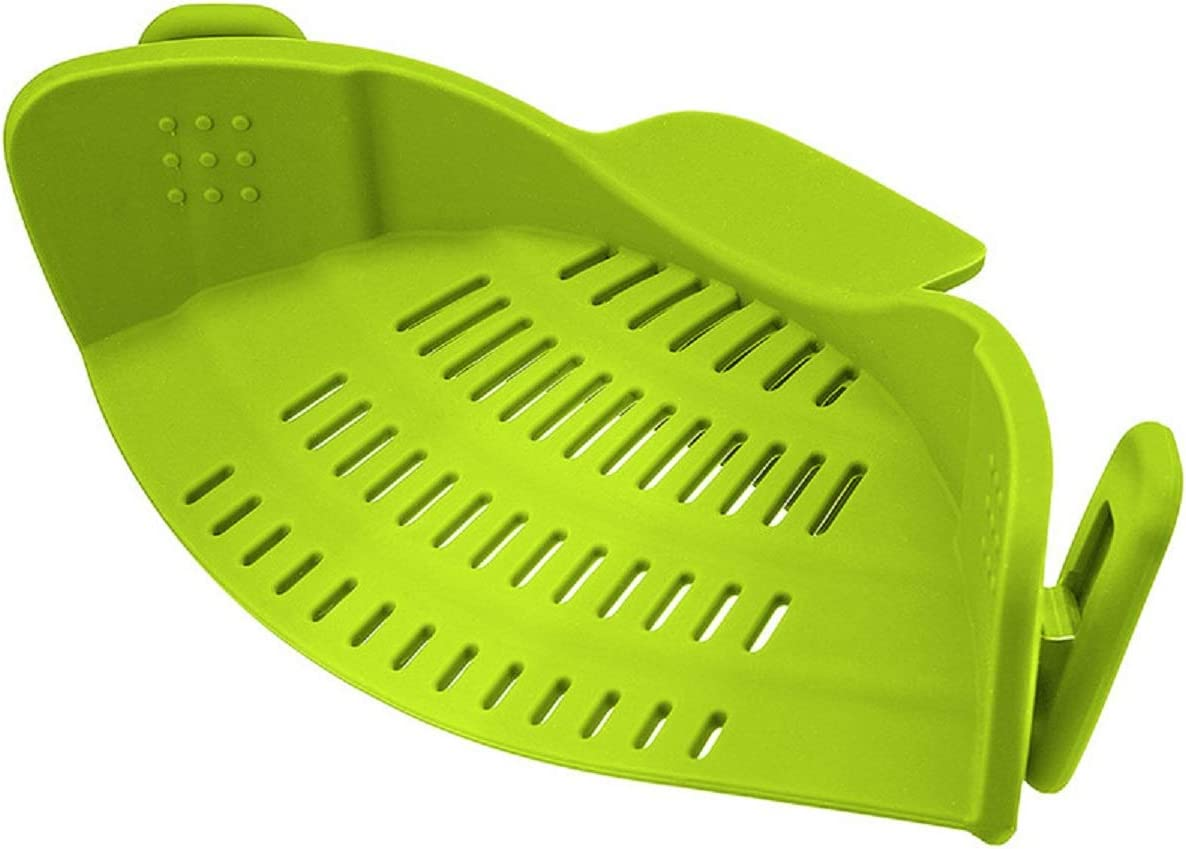 Silicone Snap N Strain Strainer for Spaghetti, Pasta, Ground Beef Grease, Colander & Sieve Snaps on Bowls, Pots and Pans | Heat Resistant Drainer Filter | Green