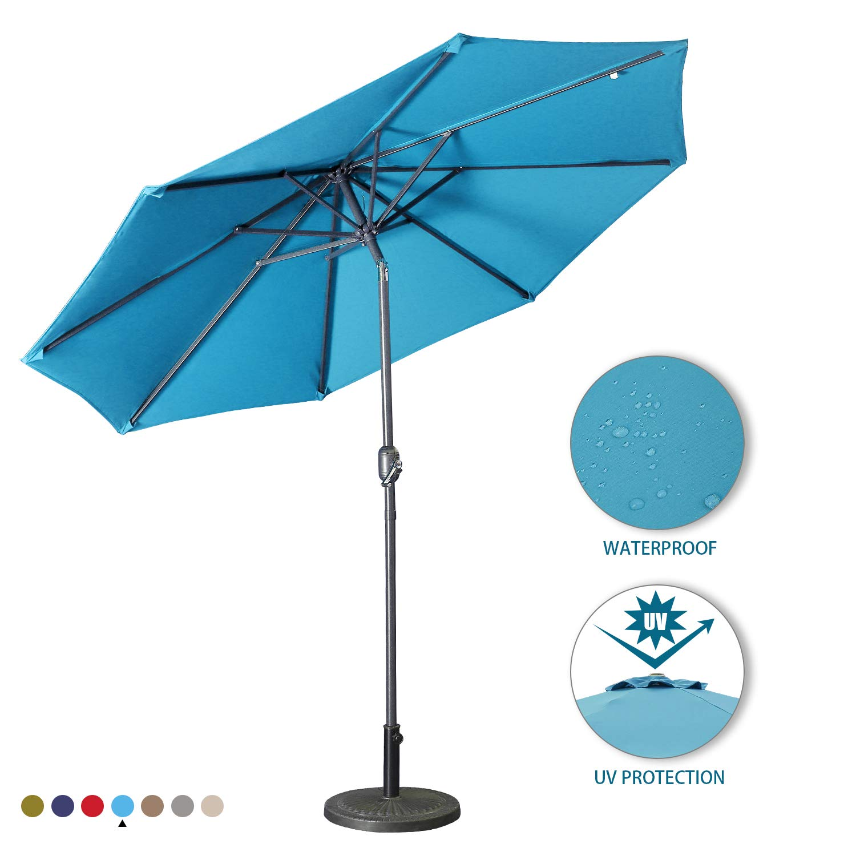 Aok Garden 9Ft Patio Outdoor Umbrella Market Table Fade-Resistant Umbrella with Push Button Tilt and Crank for Garden Backyard Deck,Update Light Blue