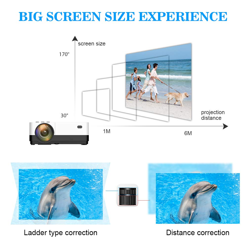 Wsiiroon LED Projector, 2019 Newest Outdoor Portable Movie Video Projector, Home Theater LCD Projector Support 1080P HDMI VGA AV USB SD with 170'' Display - 45,000 Hrs by wsiiroon (Image #3)