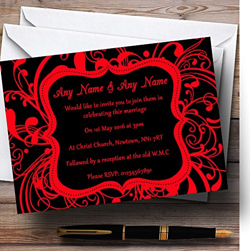 (Black & Red Swirl Deco Personalized Wedding Invitations)