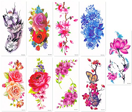 Tattoo Cherry (DaLin Sexy Temporary Tattoos Women 9 Sheets Rose, Peony Flower, Butterflly, Lotus, Cherry Blossoms)