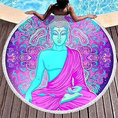 Toalla grande redonda de microfibra, toalla de playa Buda, mandala, toalla de playa, yoga, meditación, toalla de pared, manta de picnic, manta de ...