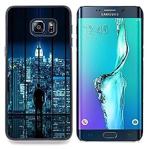 - City Skyline Sci-Fi Futuristic Night Lights Nyc - Caja del tel????fono delgado Guardia Armor- For Samsung Galaxy S6 Edge Plus Devil Case