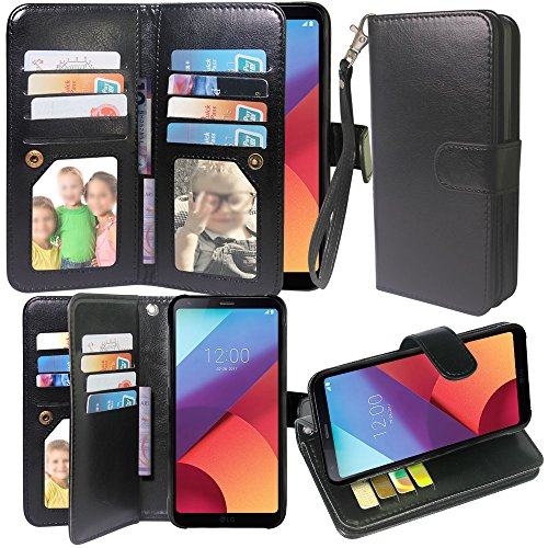 Galaxy S8 Active Case, Harryshell Luxury 12 Card Slots Shockproof Kickstand PU Leather Wallet Flip Protective Case Cover with Wrist Strap for Samsung Galaxy S8 Active (Black)