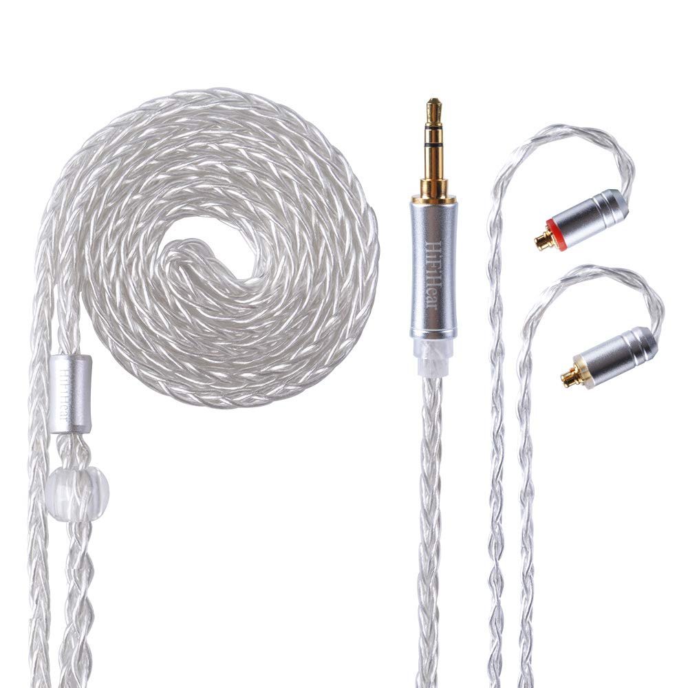 Better Upgraded Silver Plate Replacement Cable,8 Core Headset Braided silver plated Wire Upgrade Earphone Cable for SHURE UE900 SE215 SE315 SE846 SE535 TIN AUDIO T2 fiio f9 LZ etc.(Silver- MMCX 3.5mm)