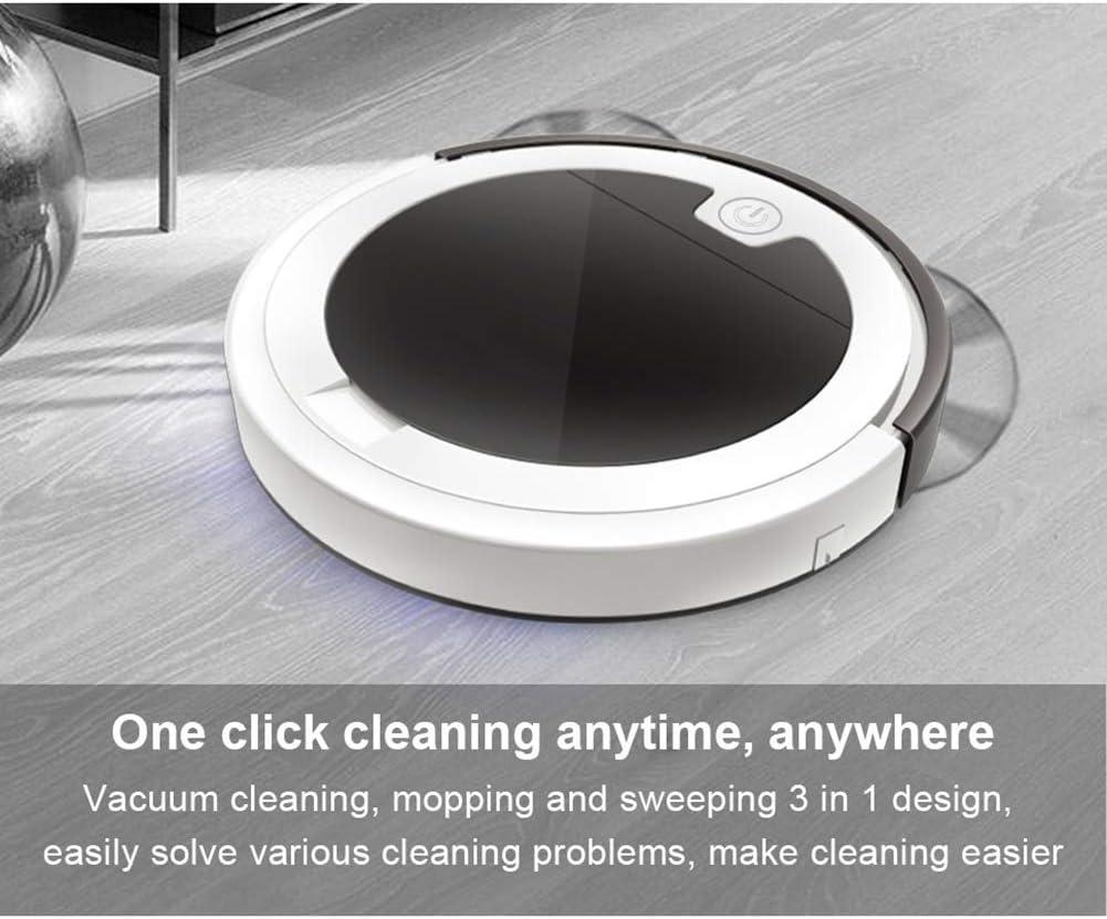 MIMI KING Aspirateur Robot avec télécommande Multifonction 2800 Pa Intelligent Sol Sweeper Balayer Automatique Rechargeable Humide Sec Cleaner pour la Maison,Black+ Red Black+ Red
