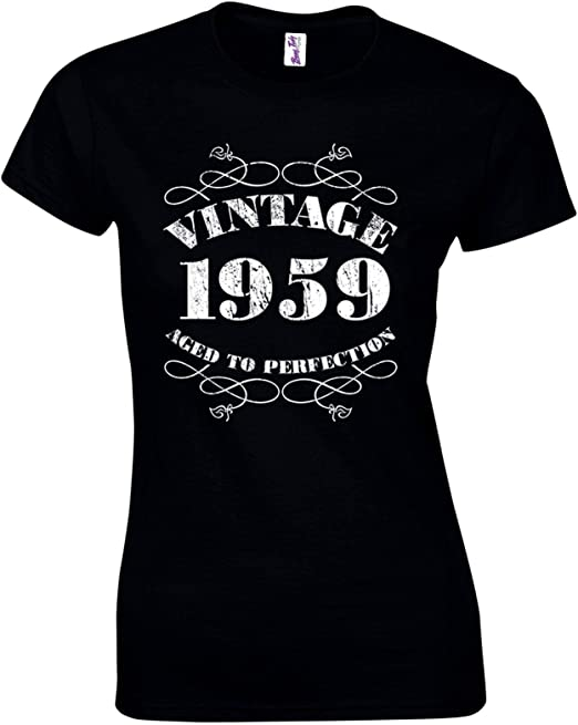 MADE IN 1959 LADIES Fitted Crystal T Shirt 40th BIRTHDAY all sizes CHOOSE DATE