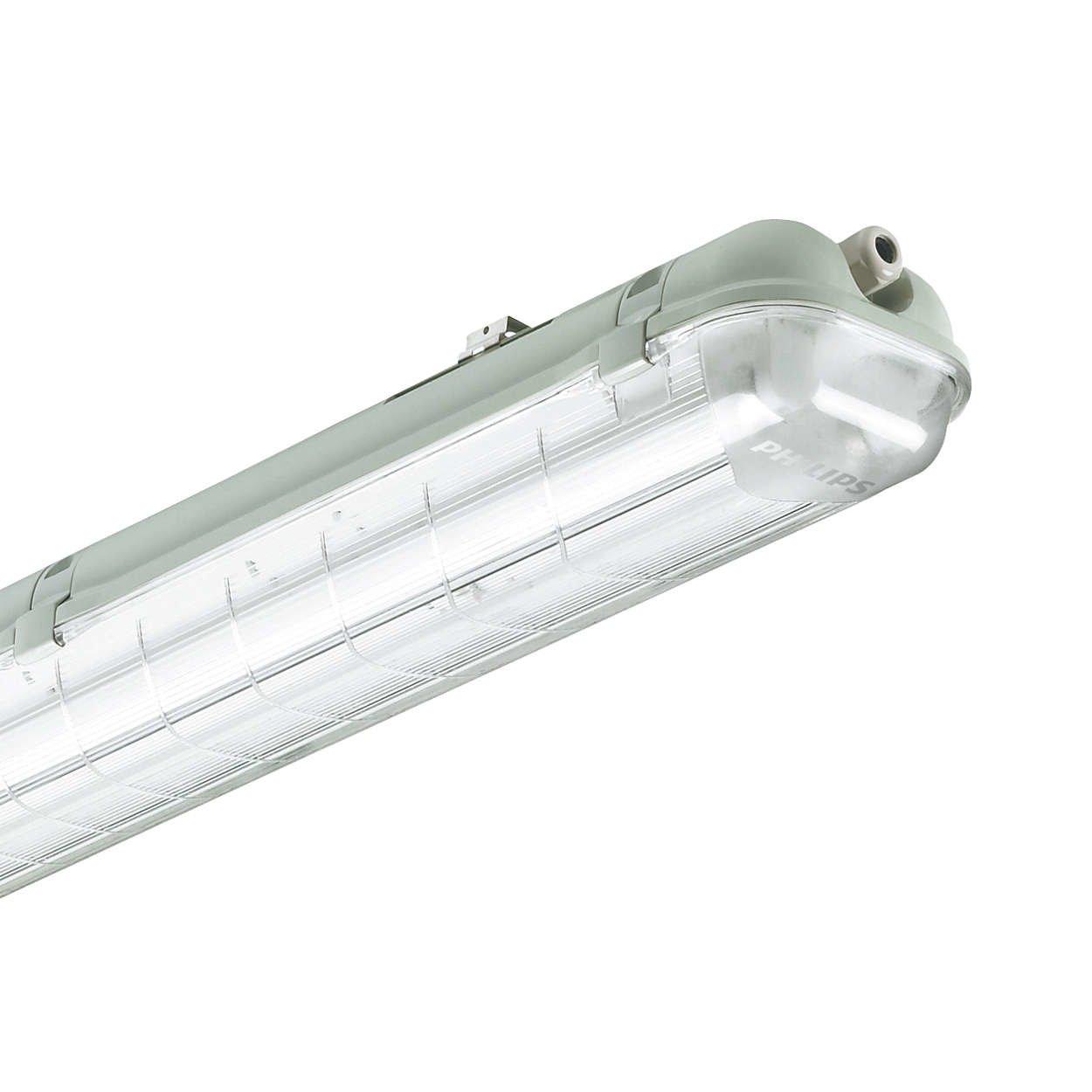 Philips Feuchtraumwannenleuchte Feuchtraum Lampe Wandleuchte Leuchtstofflampe 2x 18Watt EVG IP65 TCW060