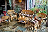 Tortuga US PS6S-AMBER EASTP 6 Piece Portside Seating Group with Southwest Amber Wicker & Eastbay Pompeii Cushions