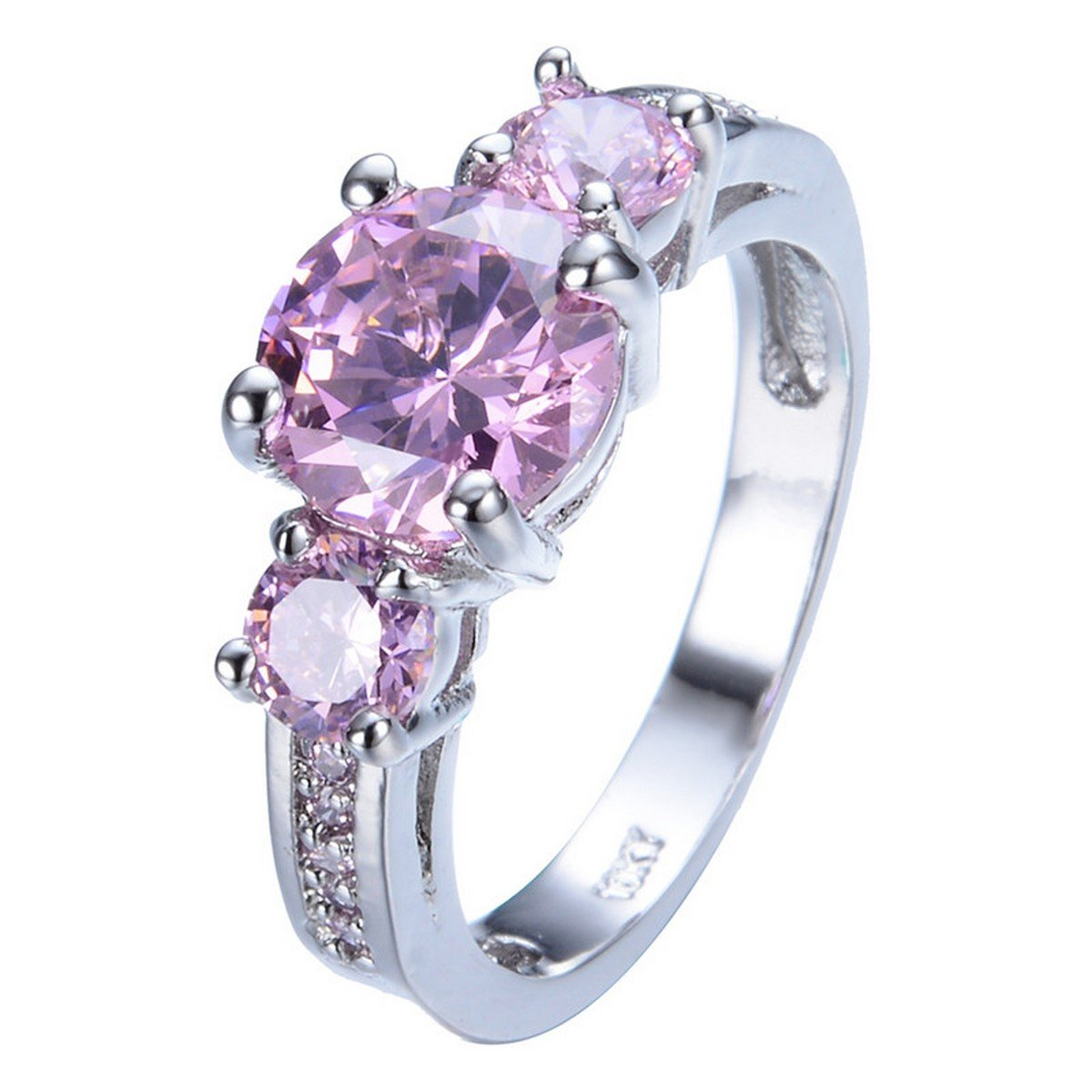 GDSTAR Cute Pink Sapphire Stone Ring Shining White Gold Filled Finger Rings Bague Femme GDSTAR_Rings_Fashion 1UGBZFW228
