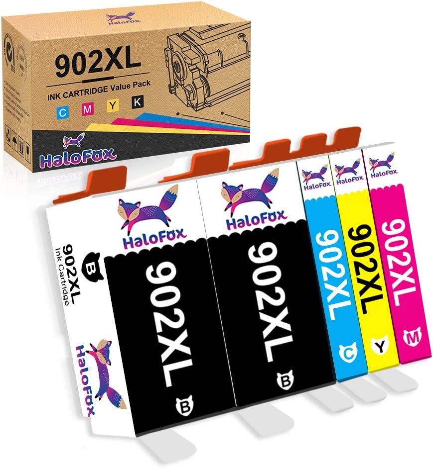 HaloFox Compatible Ink Cartridge Replacement for HP 902XL 902 XL to use with OfficeJet Pro 6968 6978 6958 6962 6954 6960 6970 6979 6950 6975 Printer (2Black Yellow Cyan Magenta, 5-Pack)