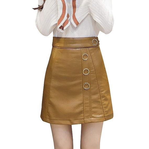 LPATTERN Mini Falda de Tubo Cuero Cintura Alta para Mujer Falda de ...