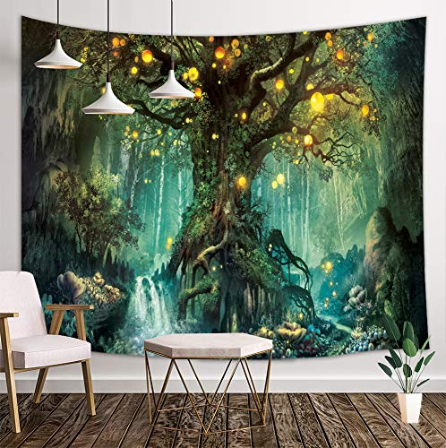 KOTOM Forest Fairy Tales Tapestry, Lanterns and Waterfalls Under Fantasy Large Tree Bohemian, Wall Art Hanging Blankets Home Decor for Bedroom Living Room Dorm, 80X60 Inches