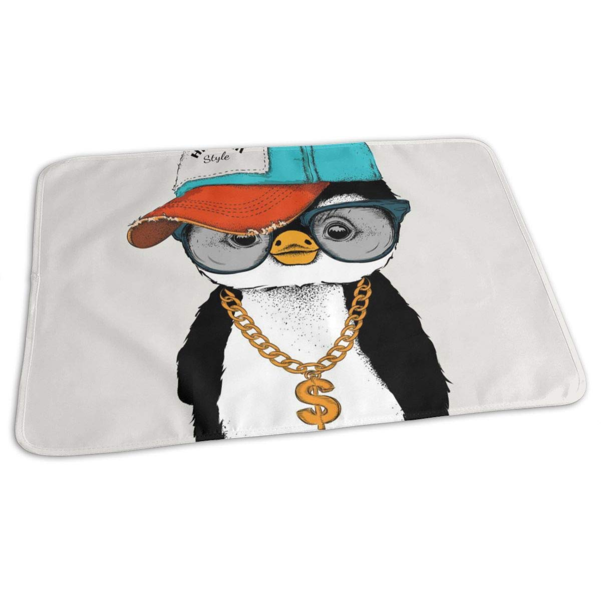 Osvbs Lovely Baby Reusable Waterproof Portable Penguins in Hip Hop Hats Changing Pad Home Travel 27.5''x19.7'' by Osvbs