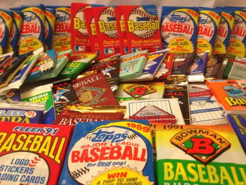 100 Vintage Baseball Cards in Old Sealed Wax Packs - Perfect for New Collectors (Trading Card Wax Pack)