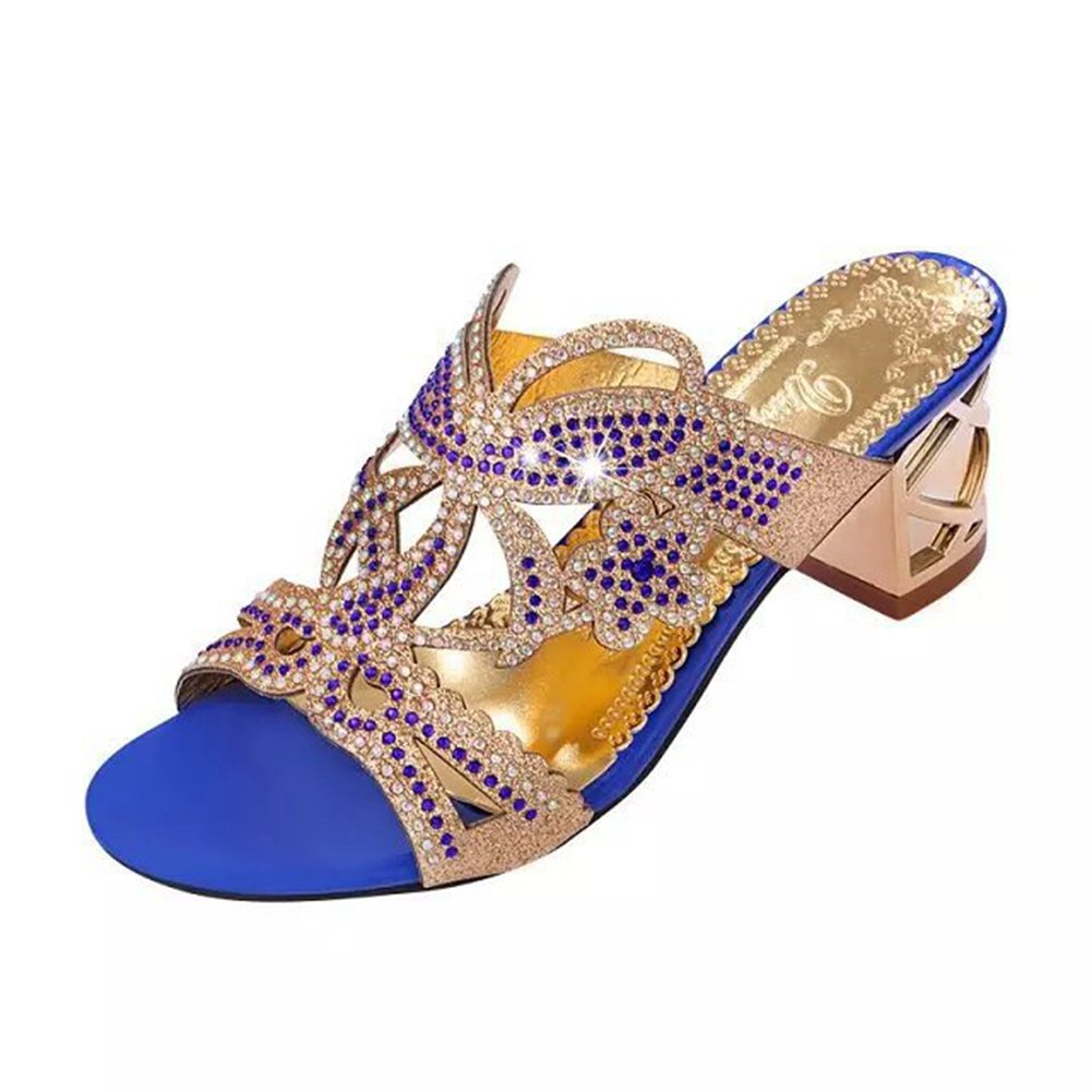 Btrada Women's Block Heeled Slides Rhinestone Peep Dress Sandals Peep Rhinestone Toe Slip On Bowknot Wedge Wedding Shoes 4.5 B(M) US|Deep Blue B07CNM1Y23 ae9e83