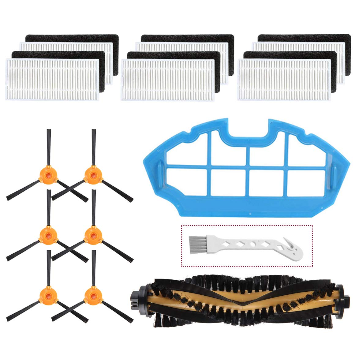 Mochenli Replacement Parts Accessories for Ecovacs DEEBOT N79 N79s Robotic Vacuum Cleanr,6 Side Brushes,6 Filter,1 Main Brushes, 1 Primary Filter Accessories Replacment Parts Kit by Mochenli