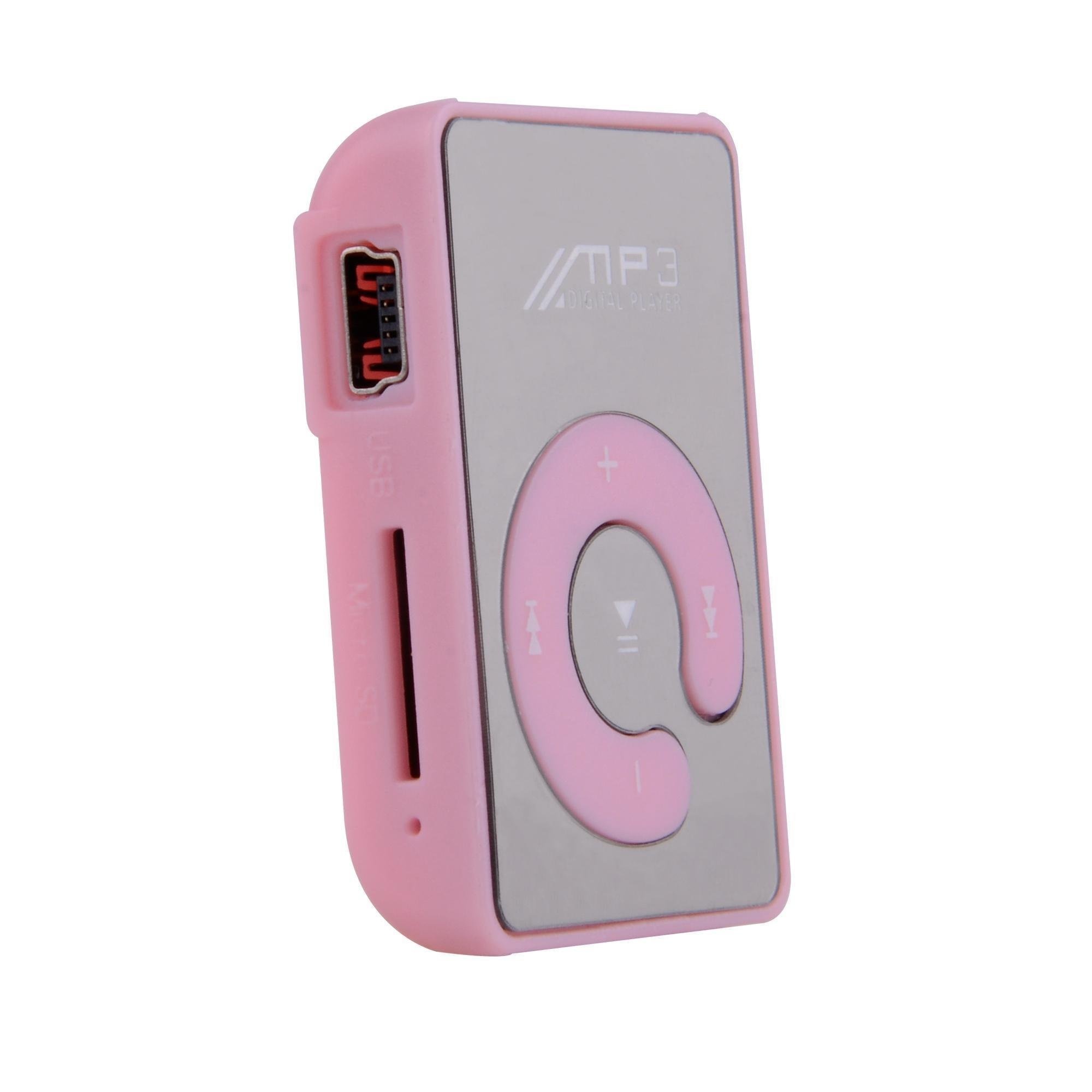 gonikm Mini Fashion Clip Sport USB Micro SD TF Mirror C Button MP3 Music Media Player Pink MP3 & MP4 Players