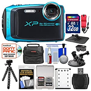 Fujifilm FinePix XP120 Shock & Waterproof Wi-Fi Digital Camera (Sky Blue) with 32GB Card + Case + Battery + Flex Tripod + Strap + Car Mounts + Kit