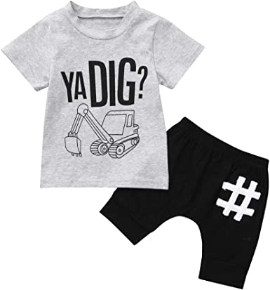 Infant Toddler Baby Boy Girl Short Sleeve Cartoon Top+Pants Shorts Outfits Sets