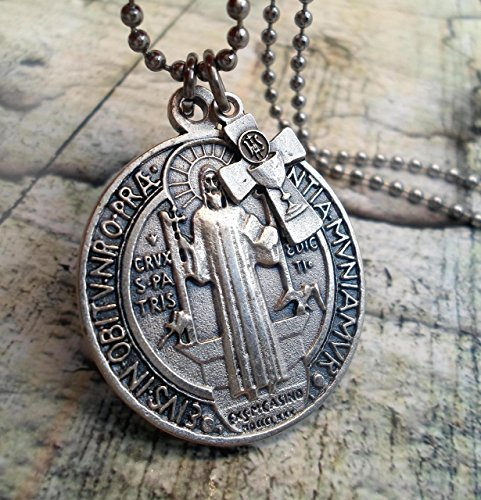 Large St. Benedict Medallion Necklace, Your Choice Charm or Cross, Patron Saint, Keychain or Purse Clip, Backpack Clip ()