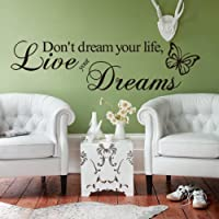 Live Your Dream Carved Wall Sticker English Wall Quotes Butterfly Home Decor Decal Letter Decorative