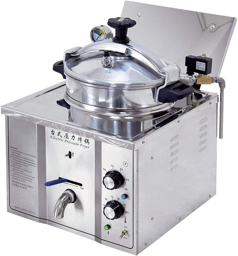 NEWTRY MDXZ-16 16L Stainless Steel Commercial Desktop Fried Chicken Stove Electric Pressure Fryer French Fries Chips Fish Meat Vegetable Frying Machine For Hotel Kitchen Restaurant Cateen