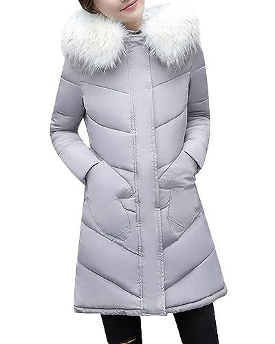 Abrigo Mujer Chaqueta Acolchada Outerwear Abrigo Largo Slim Fit Elegante Parka Gris S